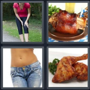 4 Pics 1 Word Answer 5 letters for woman exercising with pain in leg, meat on bone for dinner, thin woman belly with top of legs, chicken leg roasted with golden skin