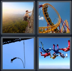 4 Pics 1 Word Answer 6 letters for person climbing rock face of mountain, rollercoaster ride upside down, person bungie jumping from bridge, skydivers in group out of plane