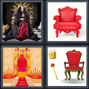 4 Pics 1 Word Answer 6 letters for queen sitting on chair with black dress, red ornate chair, royal palace red carpet, crown and scepter of king