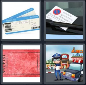 4 Pics 1 Word Answer 6 letters for boarding pass for airplane flight, parking violation flyer under windshield wipers, concert stub, police giving parking violations cartoon