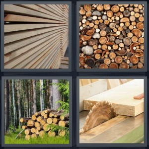 4 Pics 1 Word answers, 4 Pics 1 Word cheats, 4 Pics 1 Word 6 letters lumber for construction, logs cut in pile for fire, firewood in stack, wood being cut by saw