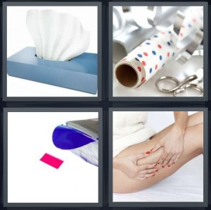 4 Pics 1 Word Answer 6 letters for hankie for blowing nose disposable, wrapping paper with scissor, tape coming out of machine, woman massaging sore leg muscle