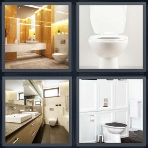 4 Pics 1 Word Answer 6 letters for bathroom with shower, seat for sitting and relieving, mirror in bathroom, bidet built into wall in bathroom