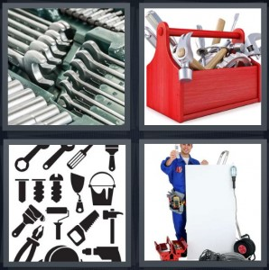 4 Pics 1 Word Answer 5 letters for wrench set with many wrenches, red toolbox with construction items, cartoon drawing of construction items, electrician with things he needs for work