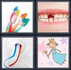 4 Pics 1 Word answers, 4 Pics 1 Word cheats, 4 Pics 1 Word 5 letters brushes for teeth colorful, child with missing front teeth, red white and blue toothpaste, fairy to give money with wand