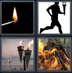 4 Pics 1 Word Answer 5 letters for flame on lit match, runner in Olympics, lights with flame for porch, campfire with many twigs
