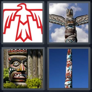 4 Pics 1 Word Answer 5 letters for red drawing of Native American bird, wood carving with wings, large mask carved like face, pole with red and blue carving design
