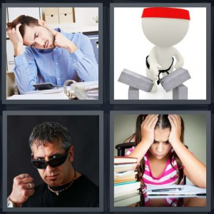 4 Pics 1 Word Answer 5 letters for man studying binder with hand on head, cartoon of karate chop cement block break, mobster with sunglasses and fist, girl student with difficult work