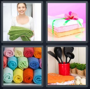4 Pics 1 Word Answer 6 letters for maid with clean laundry, clean and stacked bath wipes, rolled laundry, kitchen utensils and laundry
