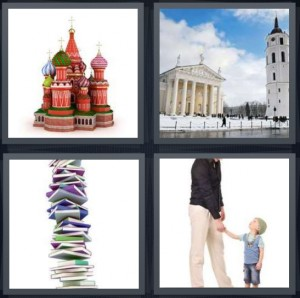 4 Pics 1 Word Answer 5 letters for Russian parliament buildings in Moscow, white church with tall building, stack of books, tall adult with short child