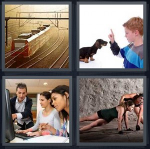4 Pics 1 Word answers, 4 Pics 1 Word cheats, 4 Pics 1 Word 5 letters tracks for locomotive in sunrise, boy teaching dog tricks index fingers, group of students learning at computer, woman exercising for event