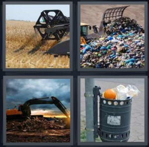 4 Pics 1 Word Answer 5 letters for combine combing hay in field, landfill with garbage and plastic, bulldozer scraping up garbage, bin for garbage on street full