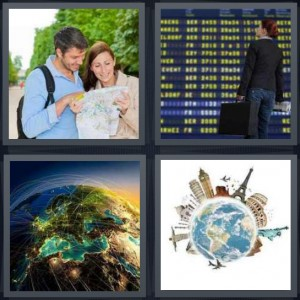 4 Pics 1 Word Answer 6 letters for tourist with map looking at sites, woman at airport looking at schedule, Earth from space, globe with attractions