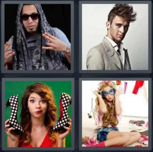 4 Pics 1 Word Answer 6 letters for rapper with scarf and tattoos, model with blown out hair, fashionable woman with polka dot heels, girl playing dress up with sunglasses