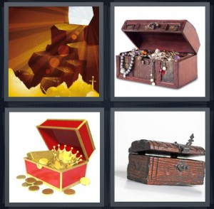 4 Pics 1 Word Answer 5 letters for cave of wonders with gold below, chest with pirate spoils, gold spilling from cartoon trunk, treasure chest or trunk with antique latch