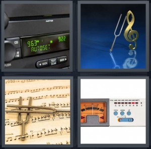 4 Pics 1 Word Answer 5 letters for radio in car with electronic green letters, tuning fork and double clef sign, sheet music, dial for changing radio stations