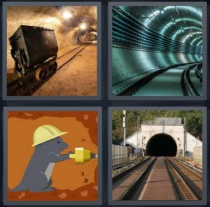 4 Pics 1 Word Answer 6 letters for mine shaft with lights, underground subway tube, groundhog cartoon with hardhat, train tracks through mountain