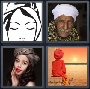 4 Pics 1 Word Answer 6 letters for sketch of fashion woman, Sikh man with white headwrap, fashionable woman with interesting hat, Indian man at edge of water