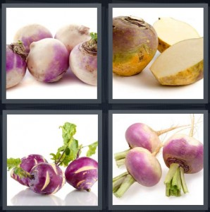 4 Pics 1 Word Answer 6 letters for root vegetable, cut vegetable like beet, purple root veg with green stalks, cut veg bulbs