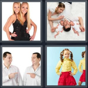 4 Pics 1 Word Answer 5 letters for girls in matching black leotards dance, family with two babies sleeping on carpet, two men look the same, girls wearing matching yellow and red outfits