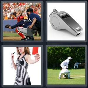 4 Pics 1 Word Answer 6 letters for baseball catcher at home plate, silver whistle, woman referee with red card flag, men playing cricket outside on field