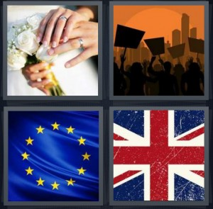 4 Pics 1 Word Answer 5 letters for hands of people getting married with flowers, picket line protest cartoon, EU flag blue with stars, British Jack flag red white and blue