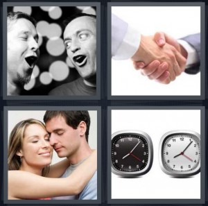 4 Pics 1 Word Answer 6 letters for men singing in harmony together, handshake firm grasp, couple in love, two clocks with same time