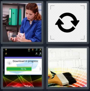 4 Pics 1 Word Answer 6 letters for woman filling prescription at pharmacy, symbol for renew or reuse, download in progress, choosing new paint for house with brush