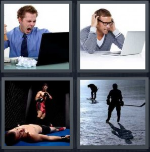 4 Pics 1 Word Answer 5 letters for angry man yelling at computer, frustrated man looking at laptop, boxing match man knocked down, hockey player on ice holding stick