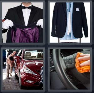 4 Pics 1 Word answers, 4 Pics 1 Word cheats, 4 Pics 1 Word 5 letters butler with coat open purple silk lining, suit on stand with blue shirt and black jacket, parking attendant red sports car, person cleaning steering wheel of car