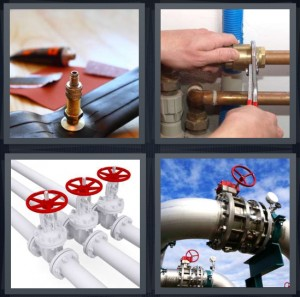 4 Pics 1 Word Answer 5 letters for bike pump for putting air in tubes, copper pipes for plumbing, red wheel to turn opening on pipe, large pipe for drawbridge