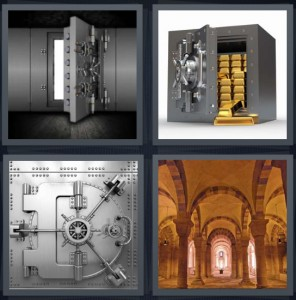 4 Pics 1 Word Answer 5 letters for safe with large door in bank, gold bars in safe open, lock door with wheel turn, arches large room