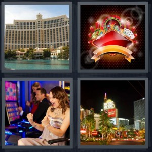 4 Pics 1 Word Answer 5 letters for large casino with fountain in front, symbols for gambling, woman winning at slot machines, city with large shiny buildings