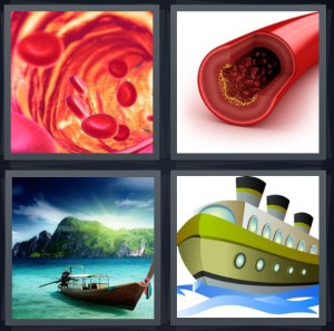 4 Pics 1 Word Answer 6 letters for blood close up under microscope, artery in vein, boat in harbor tropical island, large cartoon ship on ocean
