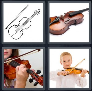 4 Pics 1 Word Answer 6 letters for string instrument for playing, instrument made of wood and strings, girl playing instrument, music student with child size instrument