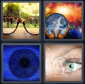 4 Pics 1 Word Answer 6 letters for glass making things in focus, crystal ball revealing future, eye close up bionic, lens of eye projected on screen