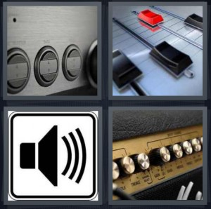 4 Pics 1 Word answers, 4 Pics 1 Word cheats, 4 Pics 1 Word 6 letters buttons for changing sound, sound mixer board, sound icon button for computer, amplifier for guitar or music