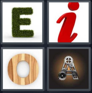 4 Pics 1 Word Answer 6 letters for letter E made of hedge, letter i in cursive, letter O made of wood, letter A made of gears