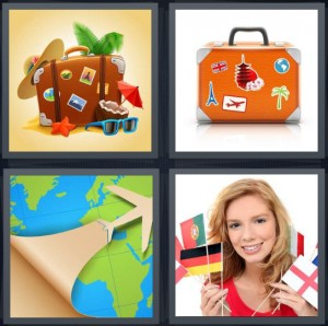 4 Pics 1 Word Answer 6 letters for travel icons with palm hat suitcase, suitcase with travel stickers, plane flying over flat image of globe, woman holding flags from different countries