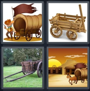 4 Pics 1 Word Answer 5 letters for pioneer from 1800s with covered transport, cart for pulling by horses, chariot in green yard, cartoon of Wild West with saloon