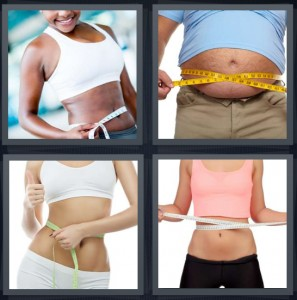 4 Pics 1 Word Answer 5 letters for thin muscular woman in sports bra, man with large belly and yellow tape measure, woman measuring waste, woman on diet measuring waist