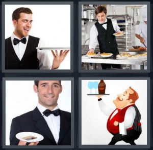 4 Pics 1 Word Answer 6 letters for butler with tray and smile, server in kitchen plating food, man presenting plate to customers, cartoon man carrying drinks