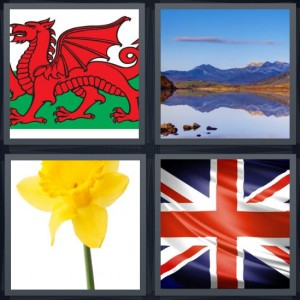 4 Pics 1 Word Answer 5 letters for red dragon flag with green background, large lake with mountains, yellow flower daffodil, union jack British flag