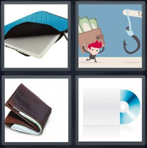 4 Pics 1 Word Answer 6 letters for empty case with no money, cartoon of man carrying money with fish hook, leather man billfold, CD with paper sleeve