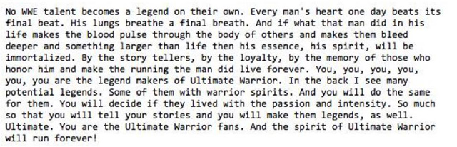 Ultimate Warrior Speech