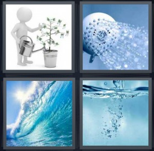 4 Pics 1 Word Answer 5 letters for person putting liquid on plant with watering can, shower head spraying, ocean wave curling, undersea bubbles