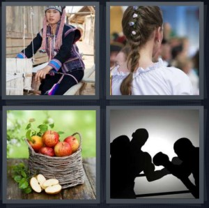 4 Pics 1 Word Answer 5 letters for Burmese woman working on loom with thread, girl with flowers in braided hair, apples in woven basket, boxers fighting in ring