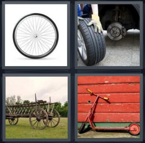 4 Pics 1 Word Answer 5 letters for spokes for tire for bicycle, tire being changed, wooden wagon in field, red scooter against red wall background