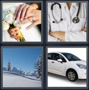 4 Pics 1 Word Answer 5 letters for bride wearing dress with flowers, doctor chest with stethoscope, snow on mountain with pine trees, new shiny car