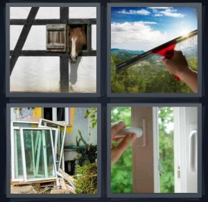 4 Pics 1 Word Answer 6 letters for horse in stable with head outside, washing glass to see better, glass panes for house, door handle opening